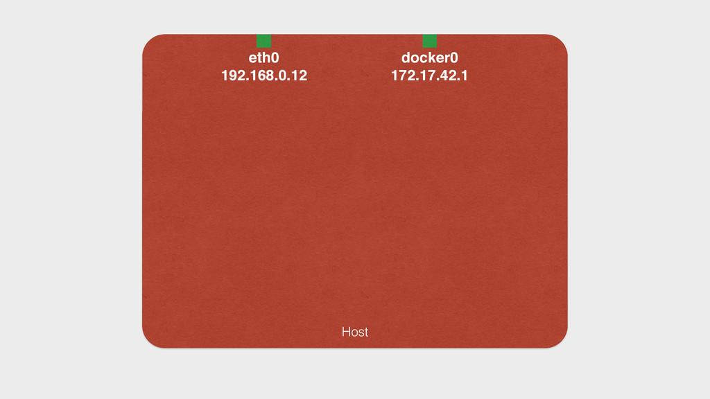 Host eth0 192.168.0.12 docker0 172.17.42.1