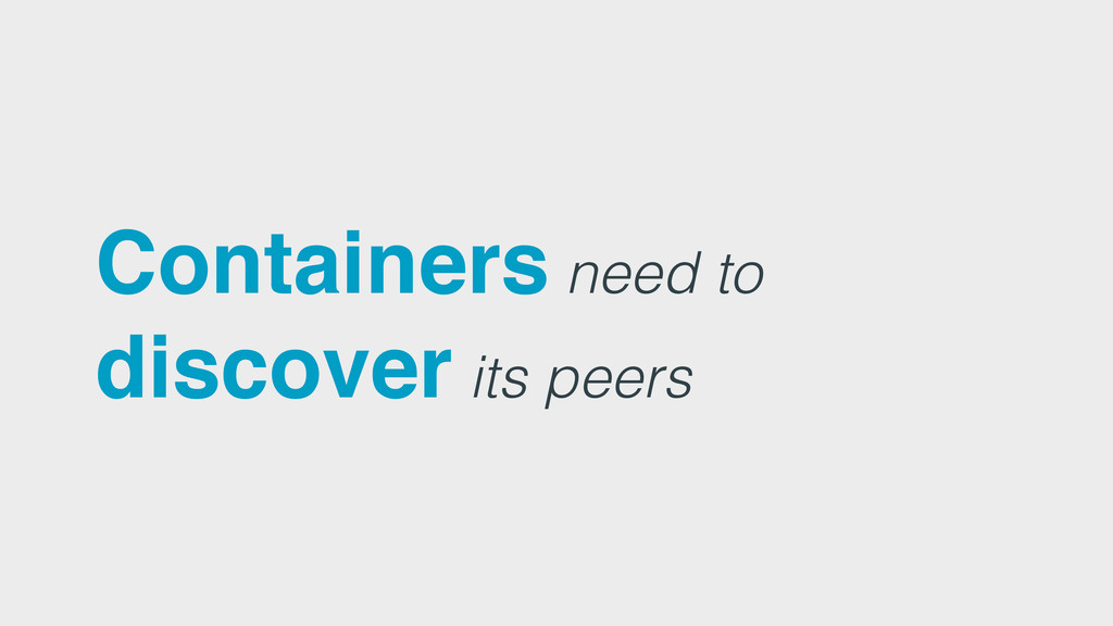Containers need to discover its peers