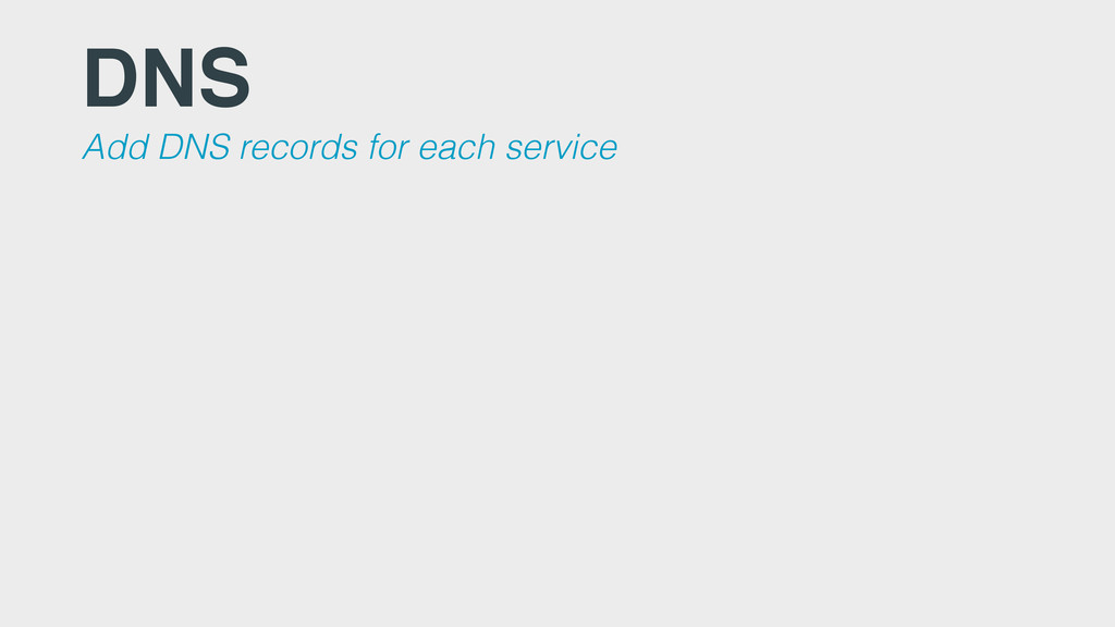 DNS Add DNS records for each service