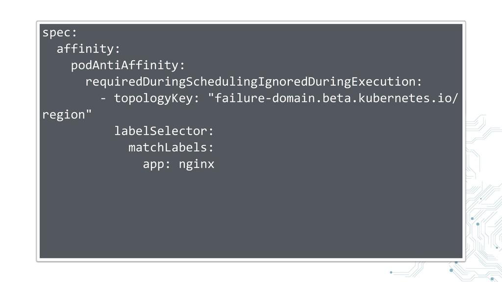 spec: affinity: podAntiAffinity: requiredDuring...