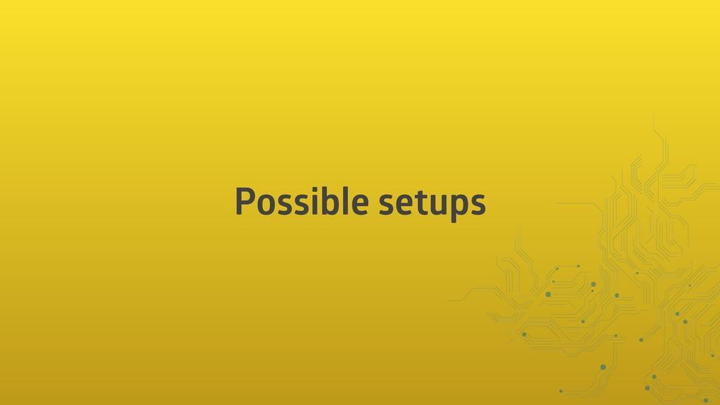 Possible setups