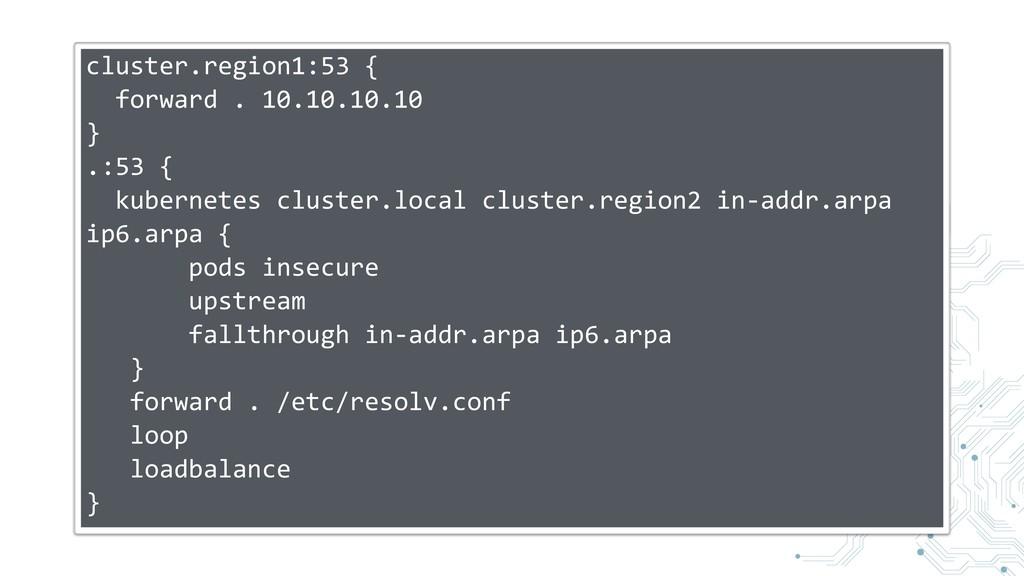 cluster.region1:53 { forward . 10.10.10.10 } .:...