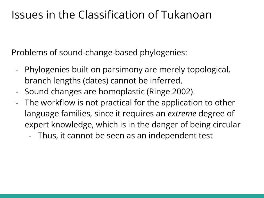 Problems of sound-change-based phylogenies: - P...