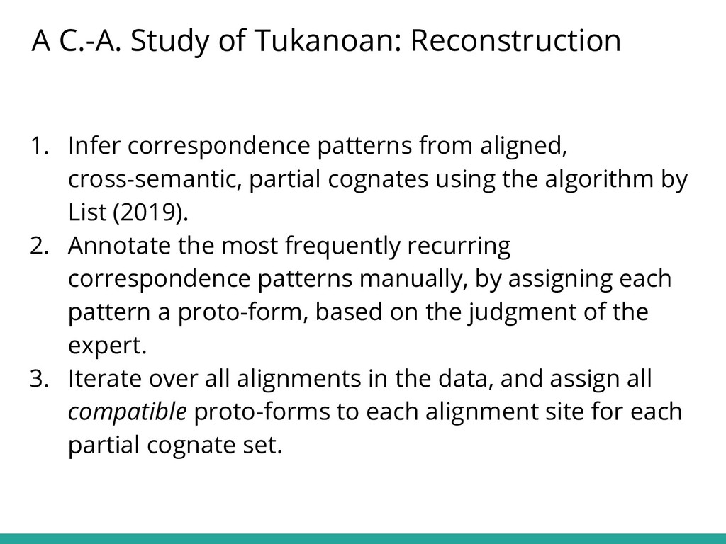 1. Infer correspondence patterns from aligned, ...