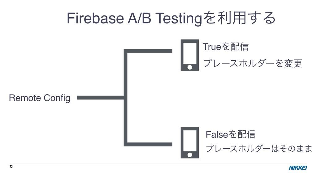 22 Firebase A/B TestingΛར༻͢Δ Remote Config TrueΛ...