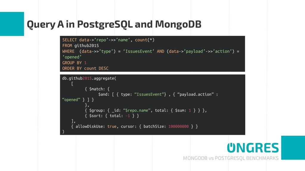 MONGODB vs POSTGRESQL BENCHMARKS Query A in Pos...