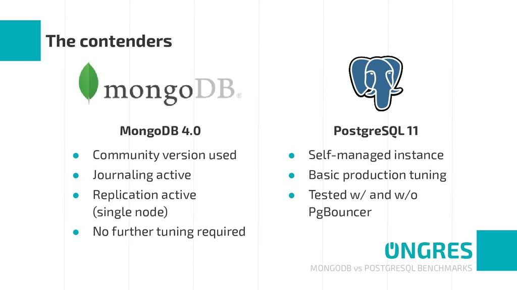 MONGODB vs POSTGRESQL BENCHMARKS The contenders...