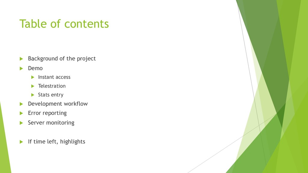Table of contents u Background of the project u...