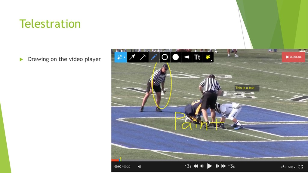 Telestration u Drawing on the video player