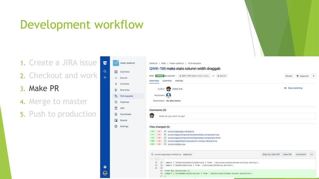 Development workflow 1. Create a JIRA issue 2. ...