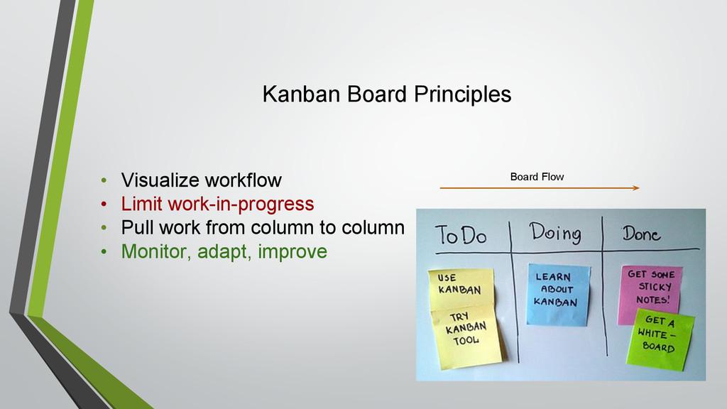 Kanban Board Principles • Visualize workflow • ...