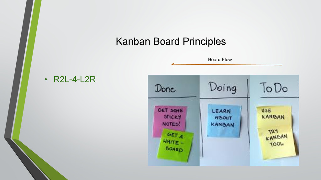 Kanban Board Principles • R2L-4-L2R Board Flow