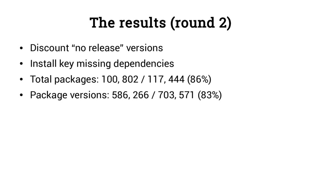 "The results (round 2) ● Discount ""no release"" v..."