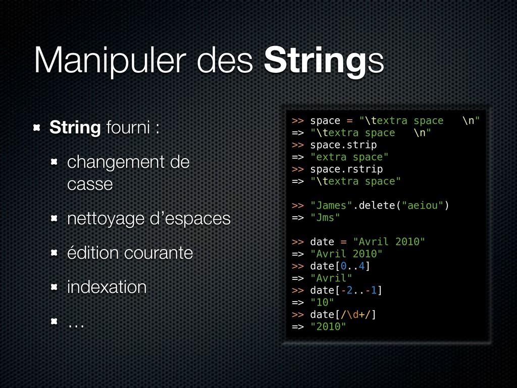 Manipuler des Strings String fourni : changemen...