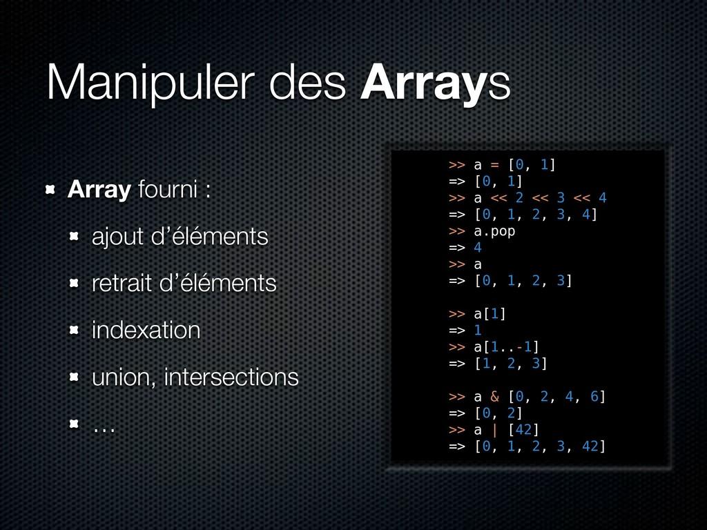 Manipuler des Arrays Array fourni : ajout d'élé...