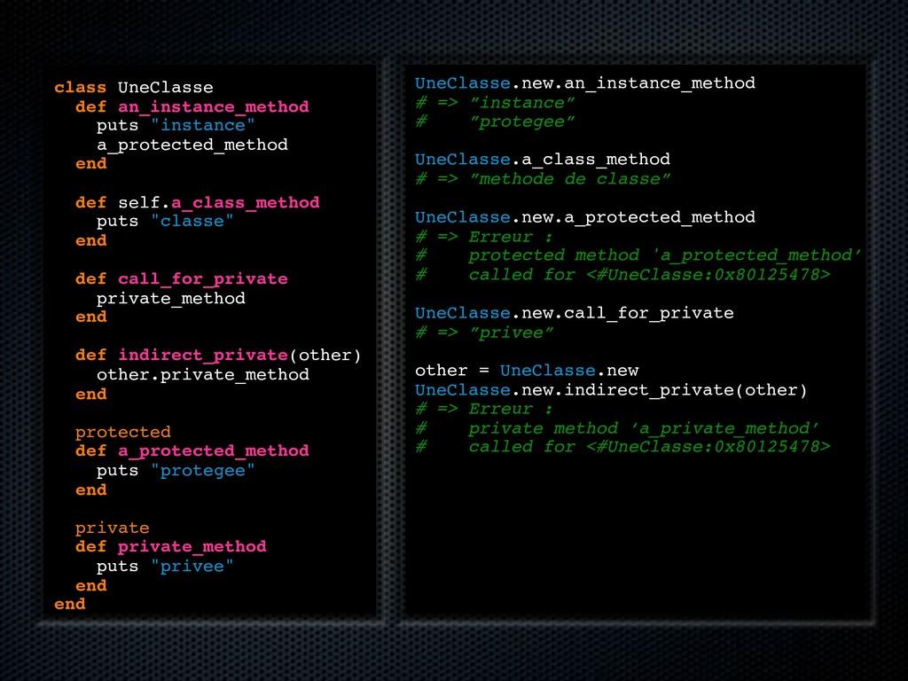 "class UneClasse def an_instance_method puts ""in..."