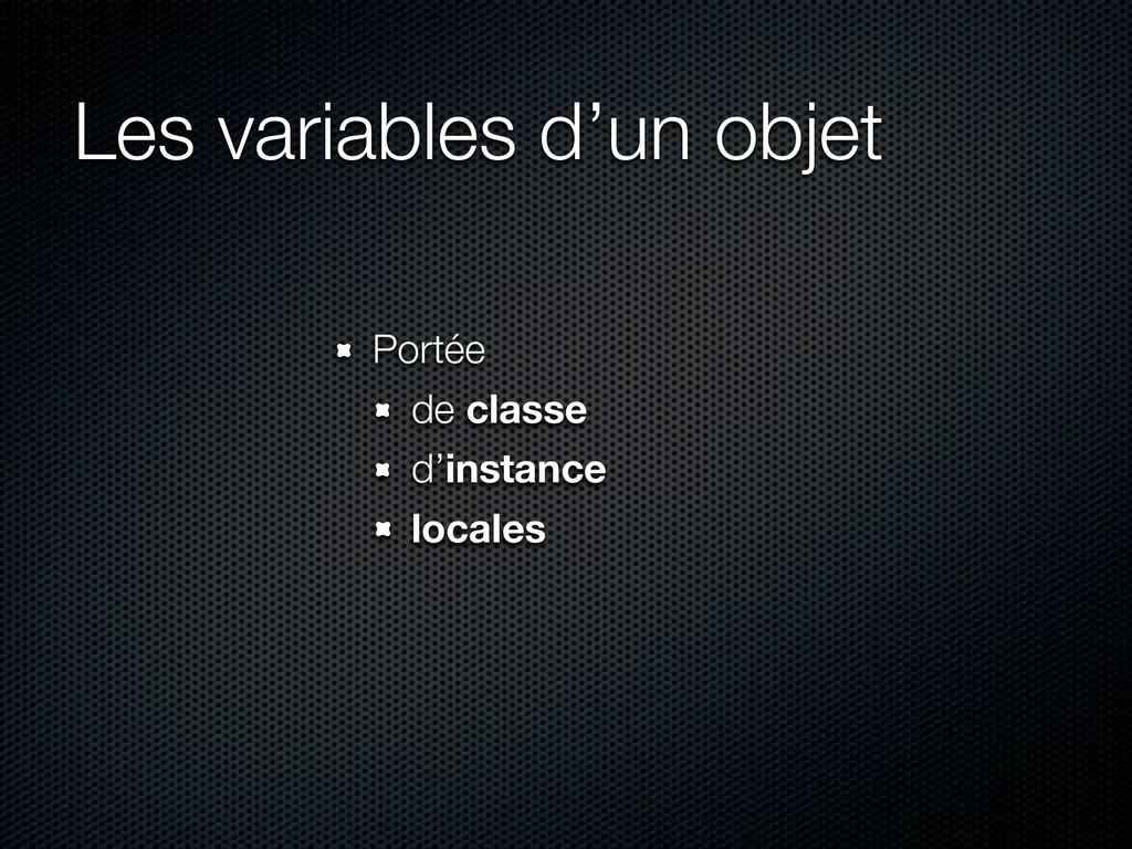 Les variables d'un objet Portée de classe d'ins...