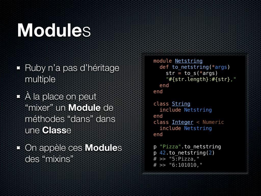 Modules Ruby n'a pas d'héritage multiple À la p...