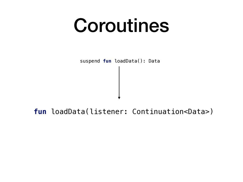 Coroutines suspend fun loadData(): Data fun loa...