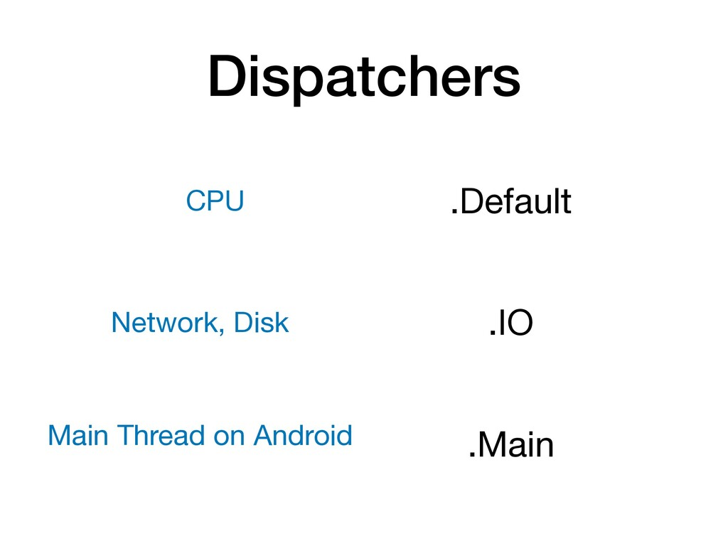 Dispatchers .Default  .IO  .Main  CPU Network, ...