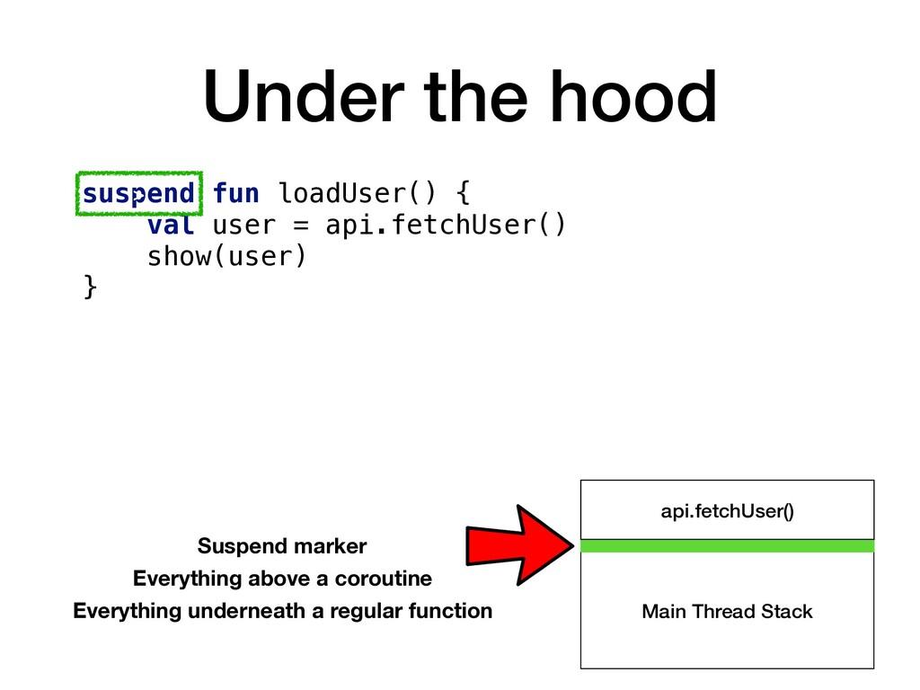 Under the hood suspend fun loadUser() { val use...
