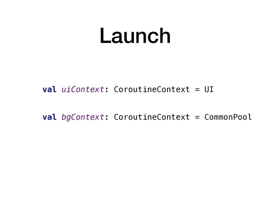 Launch val uiContext: CoroutineContext = UI val...