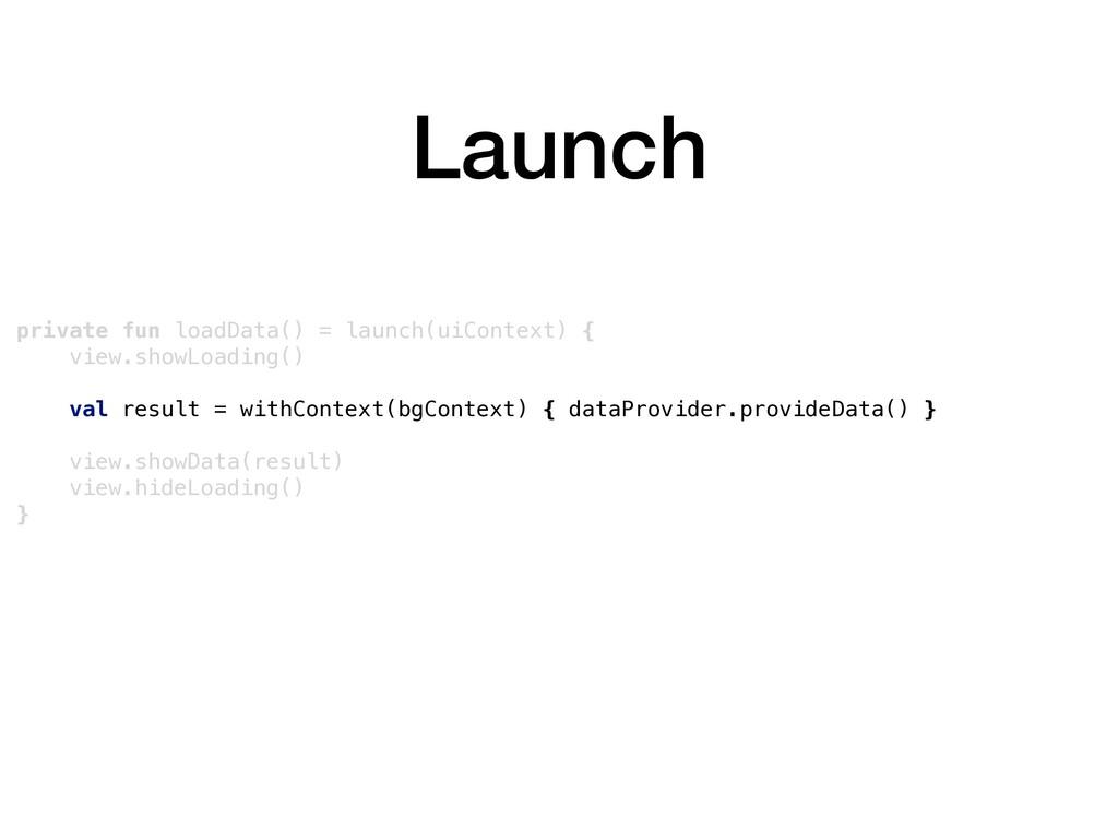Launch private fun loadData() = launch(uiContex...