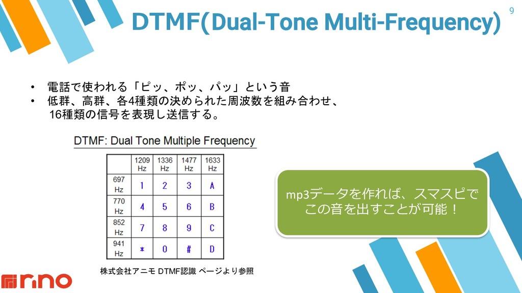 9 DTMF(Dual-Tone Multi-Frequency) • 電話で使われる「ピッ、...