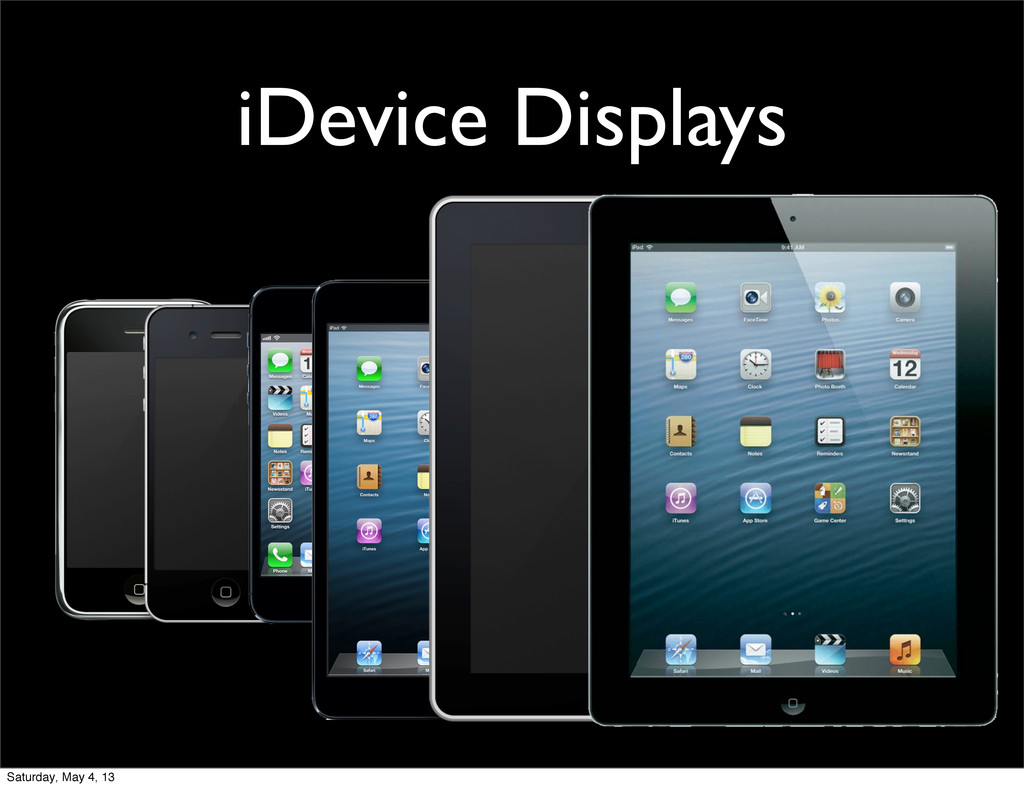 iDevice Displays Saturday, May 4, 13
