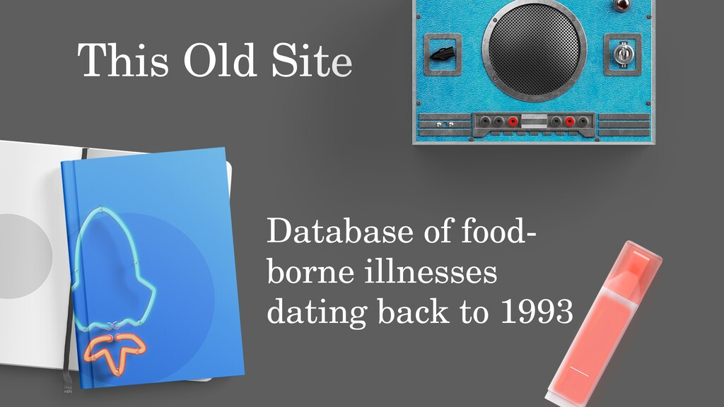 This Old Site Database of food- borne illnesses...