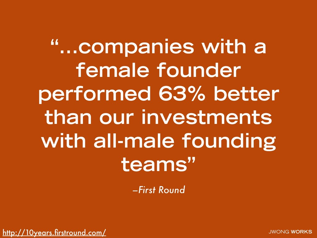 """JWONG WORKS –First Round """"…companies with a fem..."""