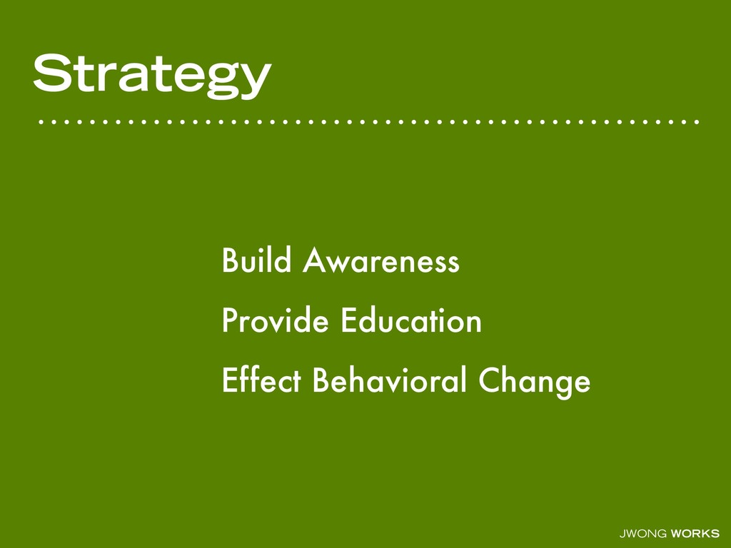 JWONG WORKS Strategy Build Awareness Provide Ed...
