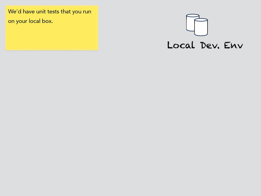 Local Dev. Env We'd have unit tests that you ru...