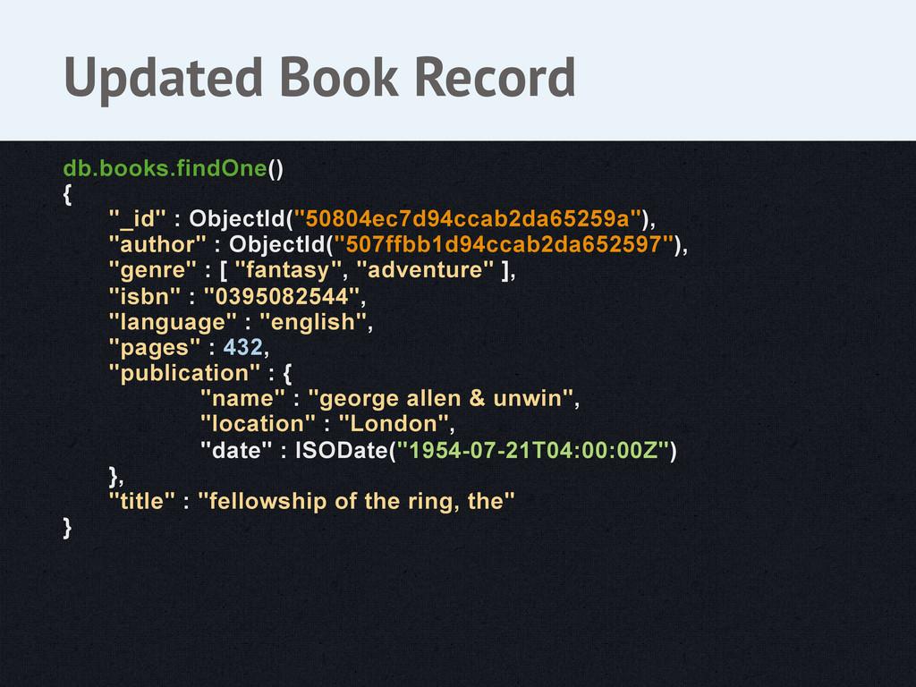 """db.books.findOne() { """"_id"""" : ObjectId(""""50804ec7..."""