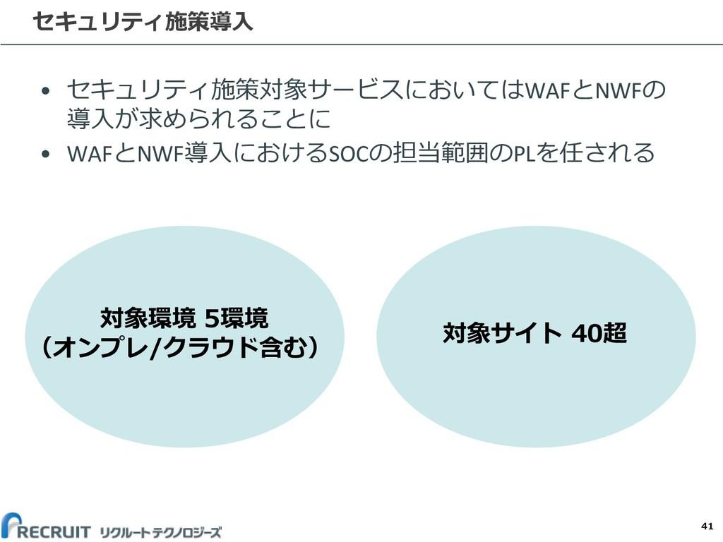 • セキュリティ施策対象サービスにおいてはWAFとNWFの 導⼊が求められることに • WAF...
