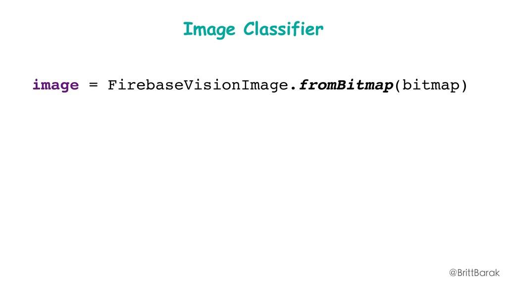 image = FirebaseVisionImage.fromBitmap(bitmap) ...