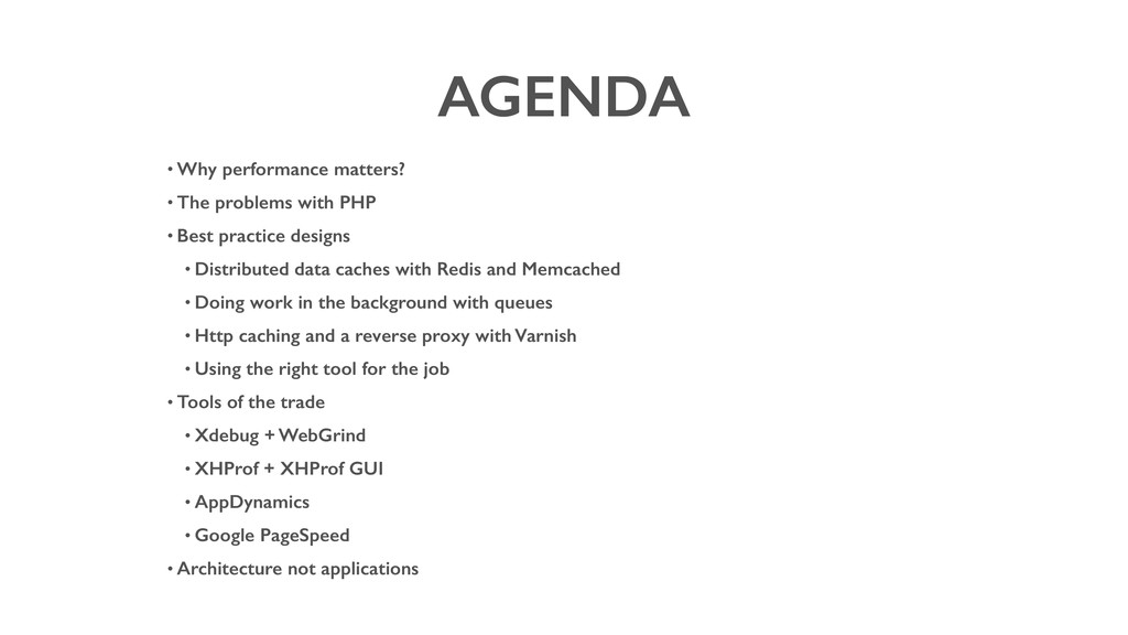 AGENDA • Why performance matters? • The problem...