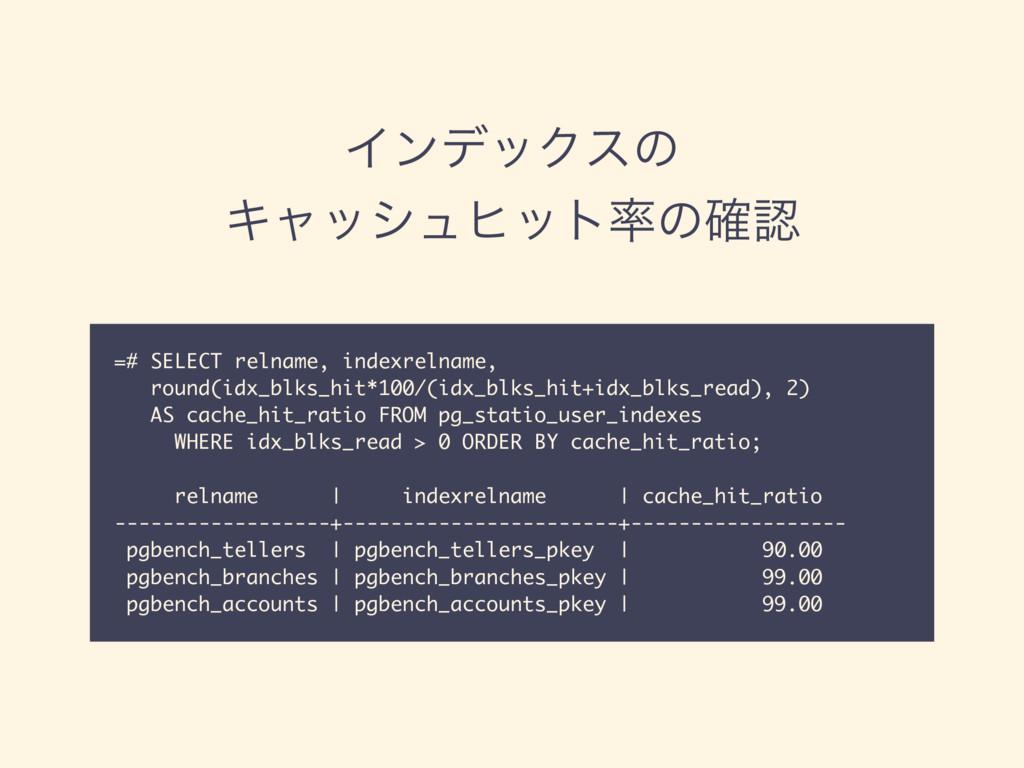 ΠϯσοΫεͷ Ωϟογϡώοτͷ֬ =# SELECT relname, indexr...