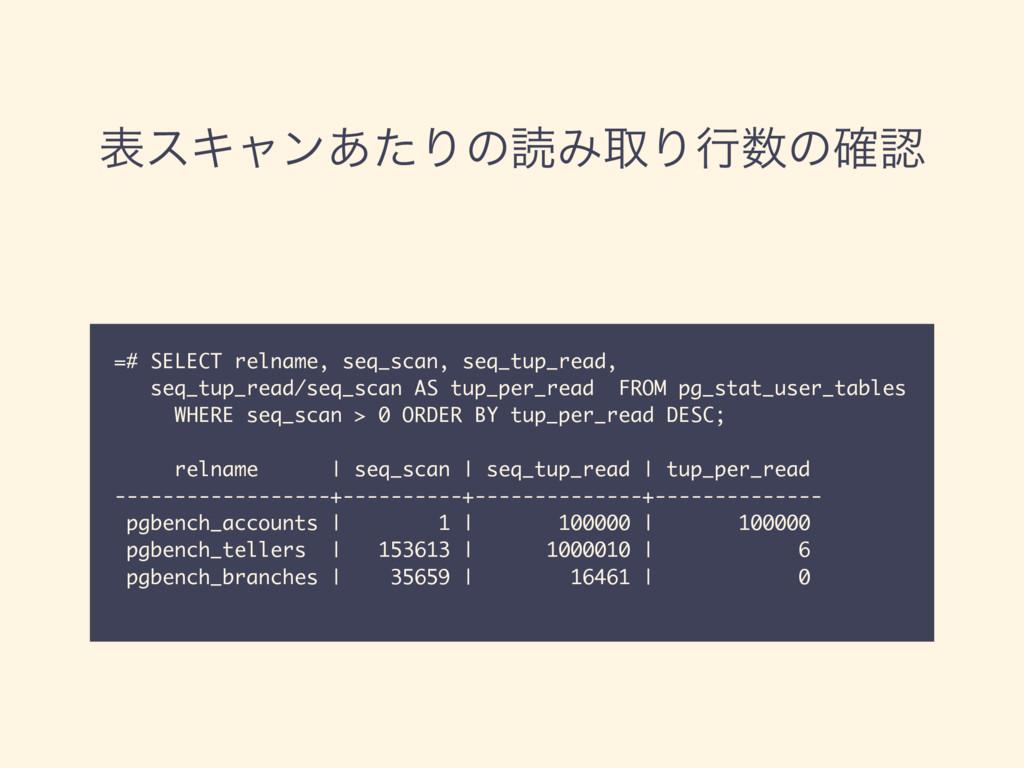 දεΩϟϯ͋ͨΓͷಡΈऔΓߦͷ֬ =# SELECT relname, seq_scan...