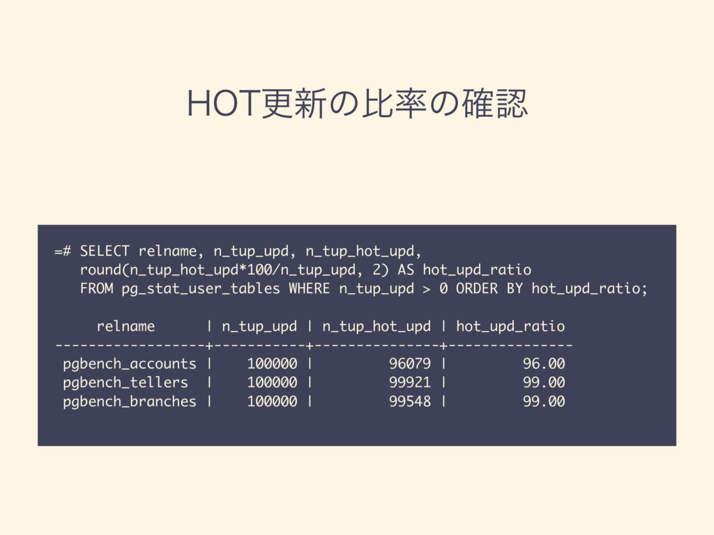 )05ߋ৽ͷൺͷ֬ =# SELECT relname, n_tup_upd, n_tup...