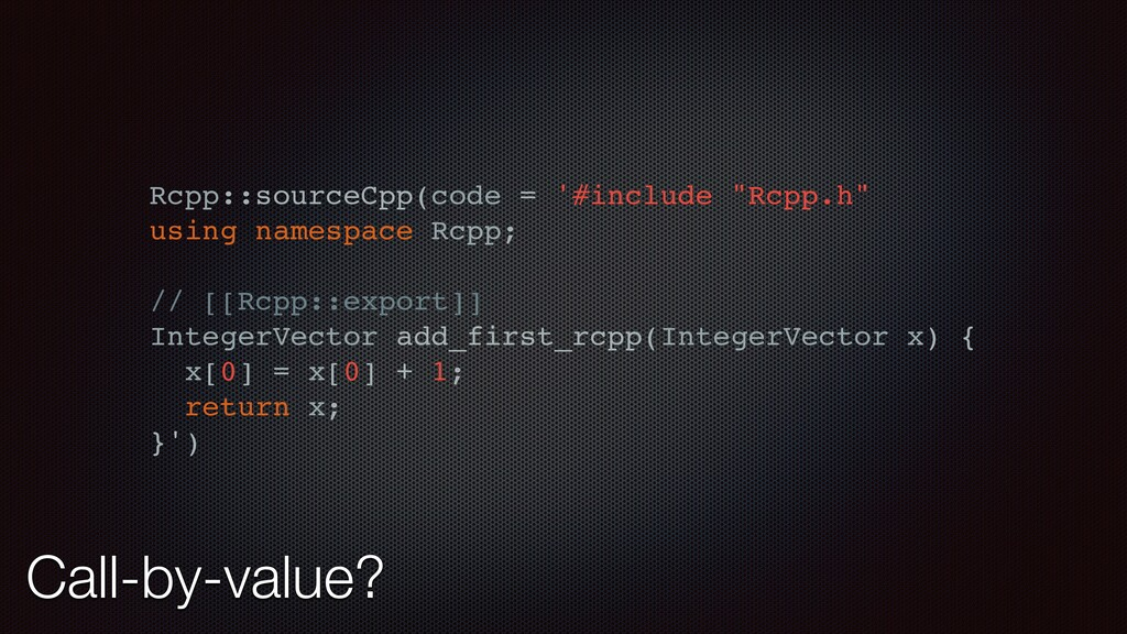 "Rcpp::sourceCpp(code = '#include ""Rcpp.h"" using..."