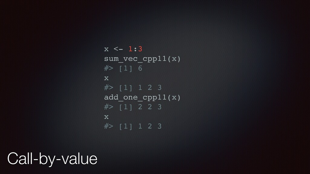 Call-by-value x <- 1:3 sum_vec_cpp11(x) #> [1] ...