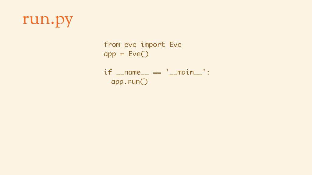 run.py from eve import Eve app = Eve() if __nam...