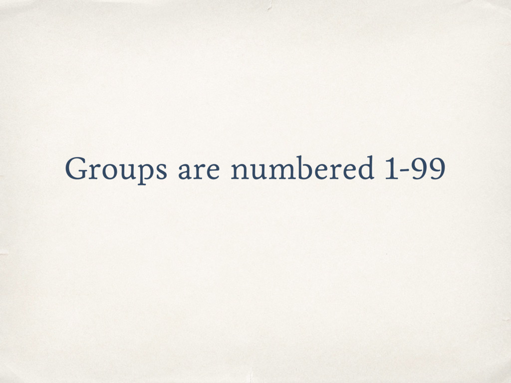 Groups are numbered 1-99