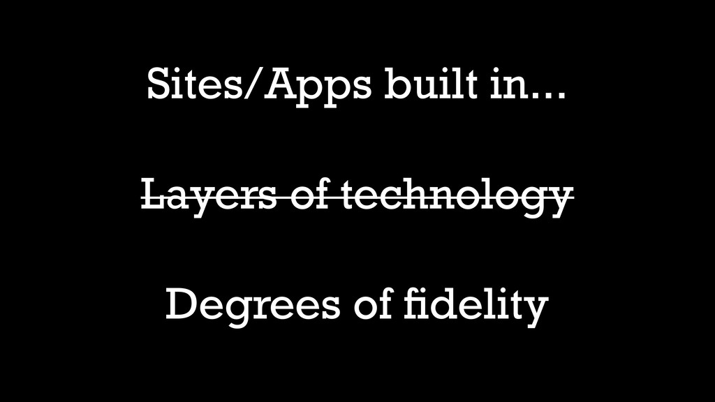 Layers of technology Degrees of fidelity Sites/A...