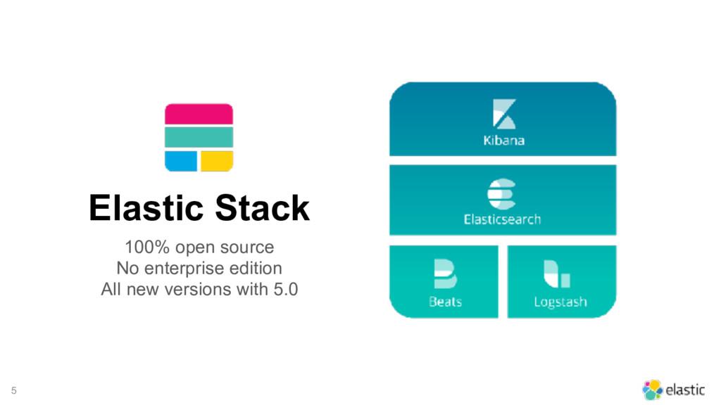 5 Elastic Stack 100% open source No enterprise ...