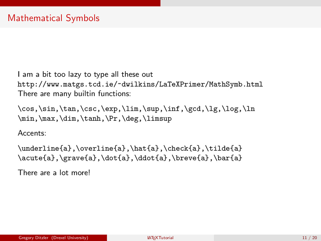 Mathematical Symbols I am a bit too lazy to typ...