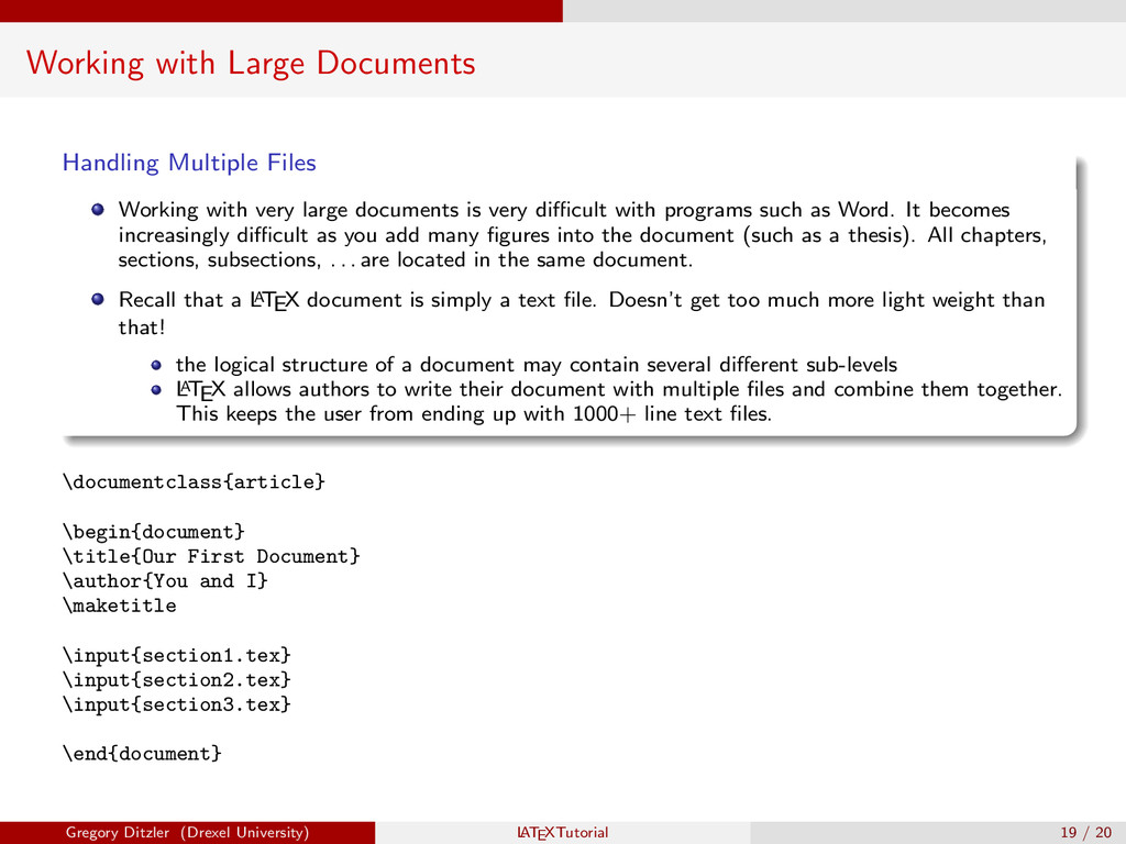 Working with Large Documents Handling Multiple ...