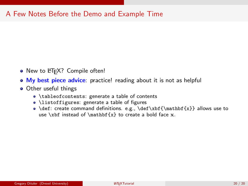 A Few Notes Before the Demo and Example Time Ne...