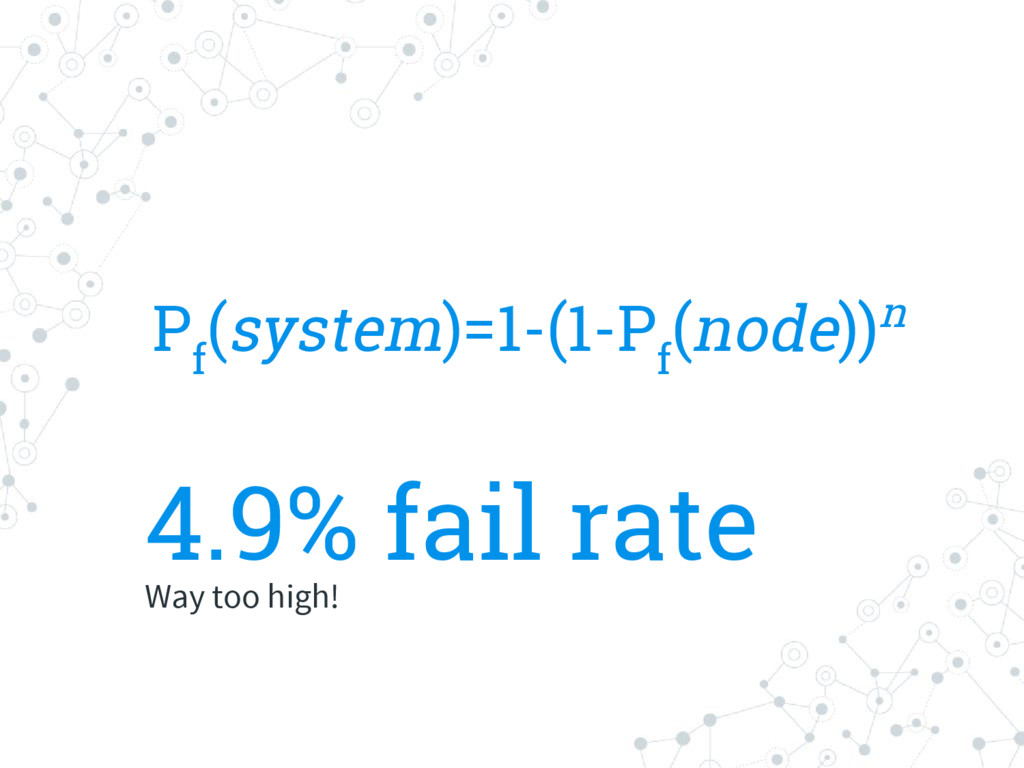 4.9% fail rate Way too high! P f (system)=1-(1-...